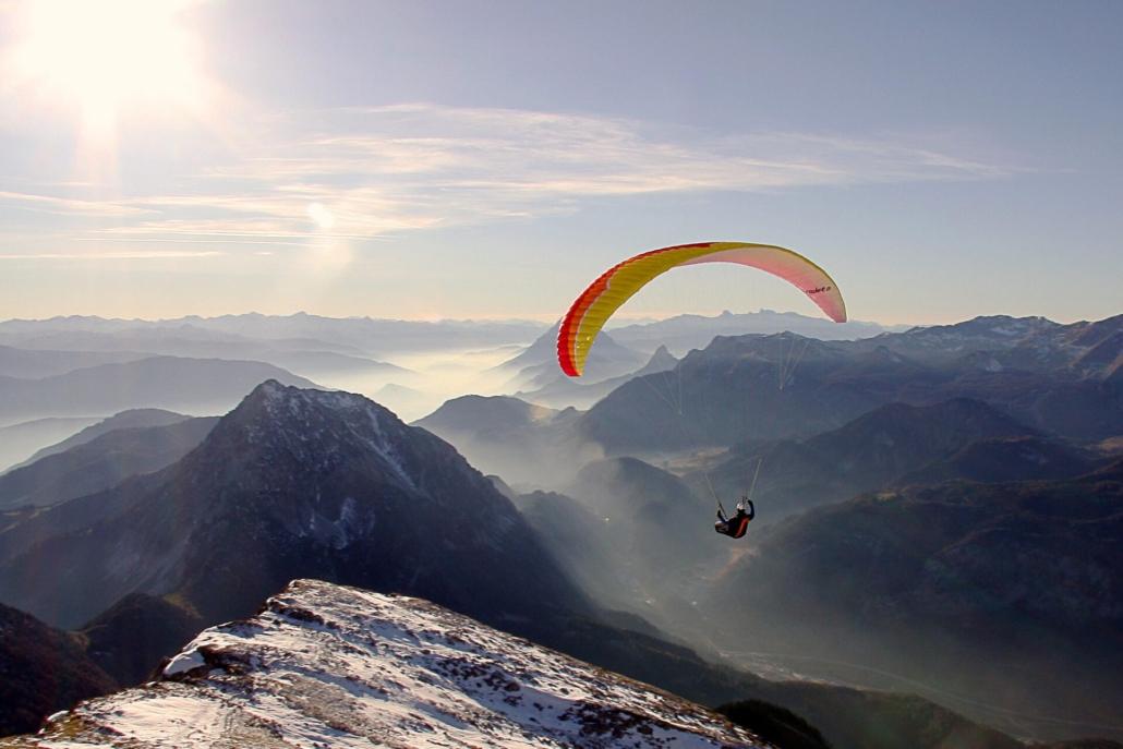 paraglider, berge, mountains, bildart